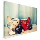 Coffee Cups heart shaped cookies Canvas Art Cheap Wall Print Home Interior