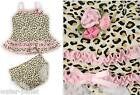 NWT KATE MACK Leopard Print with Ruffles & Flower 2pc Swimsuit 12M