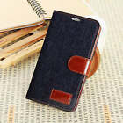 Retro Jeans Denim Cloth Leather Wallet Cover Case For Samsung Galaxy S3 S4 S5