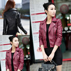 H Korean Womens Synthetic Leather Jacket Short Slim Fit Coat Motorcycle Outwear