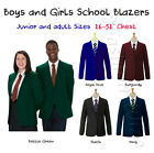 Boys Girl School Blazer Jacket Uniform Black Royal Blue Bottle Green Maroon Navy