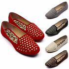 Womens Square Stud Studded Ballet Flats Round Toe Slip On Loafers Flat Shoes
