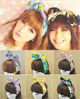 Floral Flowers Girl's Sweet Cute Big Bow Wide Ribbon Headband Hair Band Party