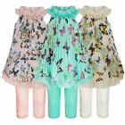 GIRLS PLEATED DRESS BUTTERFLY FLOWER PRINT KIDS CHIFFON TOP & LEGGINGS SET 3-12