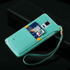 Lanyard Wrist Band Card Slot PU Leather TPU Back Cover Case for Galaxy Note 3