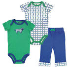 Yoga Sprout Boys 3 Piece Blue/Green Dog Playwear Set with 2 Short Sleeve Bodysui