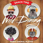 WILD DINING SIDE PLATES -Ceramic Party Animal Ceramic Snack Time Plates FOR KIDS