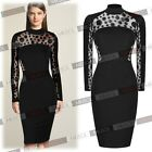 Women's Black Lace Polka Dot Bodycon Cocktail Pencil Bodycon Evening Party Dress