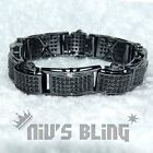 18K Black Gold Gunmetal Iced Out Hip Hop Bling MICROPAVE Lab Diamond Bracelet