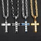 "18""-36"" Mens Gold Tone 316l Stainless Steel Crucifix Cross Pendant Necklace Cz"