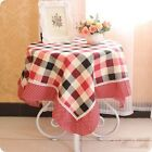 New Cute Red Plaid Tablecloth Table Cover Tea Towel Cotton Cloth Fridge Cover
