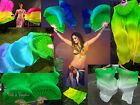 1 pair sturdy green~various colors 1.5m*0.9m belly dance silk fan veils+bag.