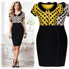 Ladies Summer Polka Dot Rockabilly Party Doll Collar Bodycon Cocktail Dresses