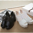 NEW Womens Korean Style Lace Hollow Thick Bottom Breathable Casual Shoes Sandals