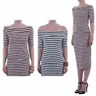 Hidden Fashion Womens Ladies Striped Bodycon Crop Bardot Top
