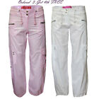 Girls New Combat Cargo Cropped Cotton Trouser Joggers ,Age 7-13Years White,Pink