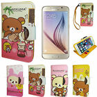 Rilakkuma Leather Wallet Diary standing strap Case Cover For Samsung Galaxy S 6