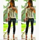 Chic Womens Summer Casual LOVE Letter Print Blouse Short Sleeve T Shirt Tops