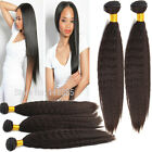 "COARSE YAKI Human Hair Extensions Brazilian Virgin inch:12""-30"" Black Hand-Woven"