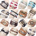 New Fashion Handmade Infinity Antique Silver Friendship Charm Leather Bracelet