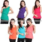 Women Maternity Vest Blouse Nursing Feeding Summer Pregnant Cotton T Shirt GBW