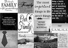 Family Quotes Canvas Wall Art  Picture Black & White 100% cotton  A1, A2, A0