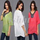 Women's Ethnic style Short Sleeve Embroidery Loose Tee Shirt Casual Blouse Top