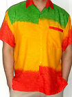 MENS RED YELLOW GREEN REGGAE RASTA WAKANDA  AFRICAN HAWAIIAN SHIRT