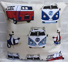 """Ashley Wilde Camper Van Scooters Cream Cushion Cover 14"""" 16"""" 17"""" 18"""" 20"""" 22"""" 24"""""""