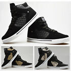 Mens Casual Black Print Hi High Top Flat Lace Up Ankle Boots Trainers Sneakers