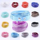 New Fashion Rhinestone Bracelet Leather Wrap Wristband Cuff Punk Bangle Gift