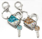 Beautiful Jewelled Crystal Padlock and Key Keyring Handbag Purse Bag Charm