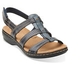 Clarks Womens LEISA DAISY Fisherman Strappy Sandals Blue Leather 26105193