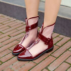 Womens Buckle Ankle Boots Clear Low Heel Oxford comfort Summer Pump Shoe UK2-8.5