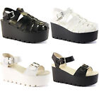WOMENS LADIES CHUNKY WEDGE HIGH HEEL STRAP ANKLE PLATFORM SANDALS SHOES SIZE