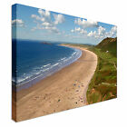 Rohossili bay in the gower peninsula Canvas Art Cheap Wall Print Home Interior