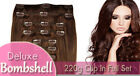 Deluxe Bombshell 220g Full Set Clip In Extensions - 100% Remy Human Hair