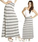 New Minimal Striped Casual Fit Jersey Knit Lightweight Stylish MAXI LONG Skirt