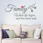 Family Where Life Begins and Love Never Ends Vinyl Wall Art Sticker Decal