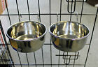 PAIR STAINLESS 2 STEEL DOG BOWL FOR CAGE CRATE HOOK COOP BOWL, CAT CAGE BOWL