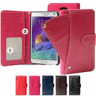 Slide Double Card ID Money Pocket Wallet Leather Case For Samsung Note 4 / 3/ 2