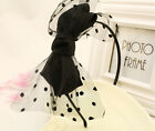 Fashion Summer Women Girl Satin Dots Black Gauze Big Bowknot Hair Band Headband