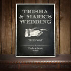 PERSONALISED DIRECTION RIGHT ARROW WEDDING SIGN VINTAGE CHALKBOARD - E