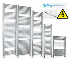 600 mm Wide Chrome Heated Towel Rail Radiator Flat/Curved Pre filled Electric