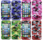 FOR IPHONE 5 5S Phone Case Hybrid Camo Colorful Army Silicone Cover Protector