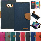Canvas Fabric Skin Wallet Stand Leather Case For Apple iPhone Samsung Galaxy LG