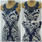 NEW MAXI DRESS NAVY BLUE CREAM GREY FLORAL DAMASK LACE SUMMER STRAPPY SZ 8 - 16