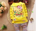 Hello Kitty Sweatshirt & Pants Set Shirt Outfit Costume Girls Kids Baby Princess