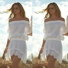 Women Summer Off Shoulder Cover Up Lace Crochet Bikini Swimwear Beach Dress