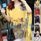 Women Summer Sexy Batwing Sleeve Loose Chiffon Floral Print T-shirt Blouse Tops